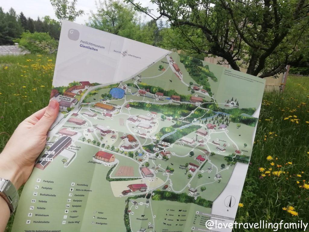 Karte, Freilichtmuseum Glentleiten Bayern mit Kind